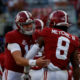 Mac Jones and John Metchie celebrate a touchdown for Alabama versus Texas A&M