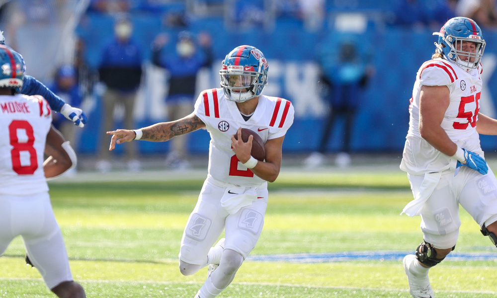 Matt Corral of Ole Miss runs the ball versus Kentucky