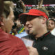 Nick Saban and Kirby Smart meet at midfield after 2018 SEC Championship Game