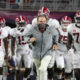 Nick Saban and Alabama players coming on the field versus Ole Miss