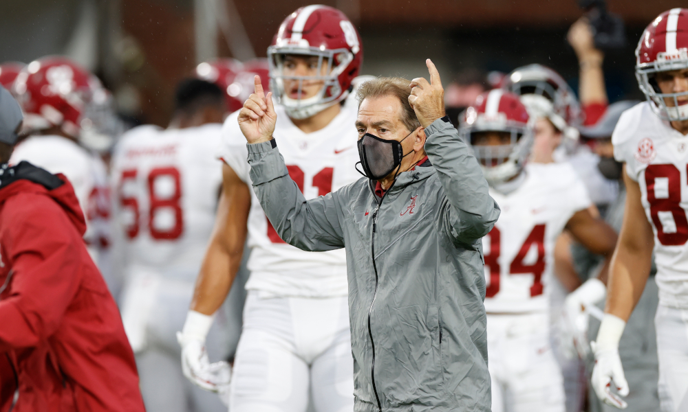 Nick Saban in pregame before taking on Ole Miss