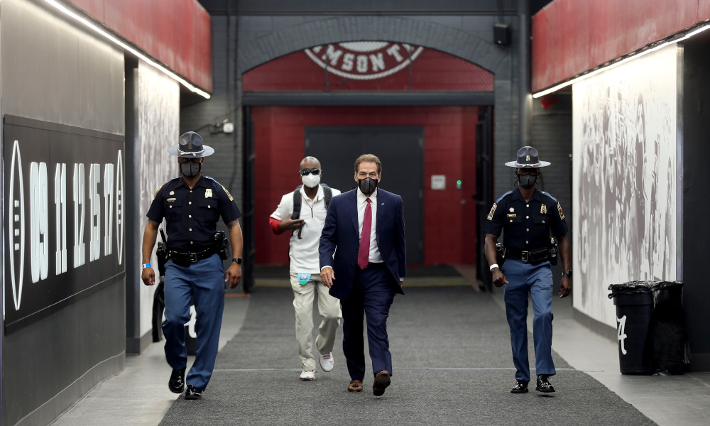 Nick Saban walks through Alabama tunnel before Georgia game
