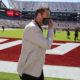 Steve Sarkisian walks around Bryant-Denny Stadium prior to TAMU game