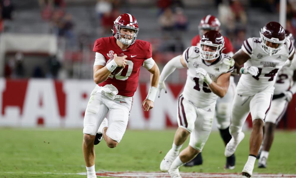 Mac Jones runs the ball versus Mississippi State