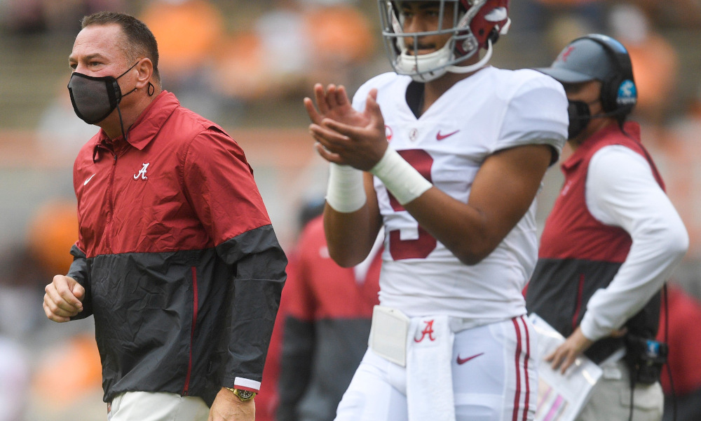 Butch Jones on the sideline for Alabama with Bryce Young versus Tennessee