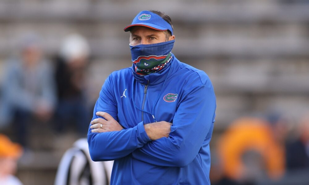 Dan Mullen watches his team against Tennessee