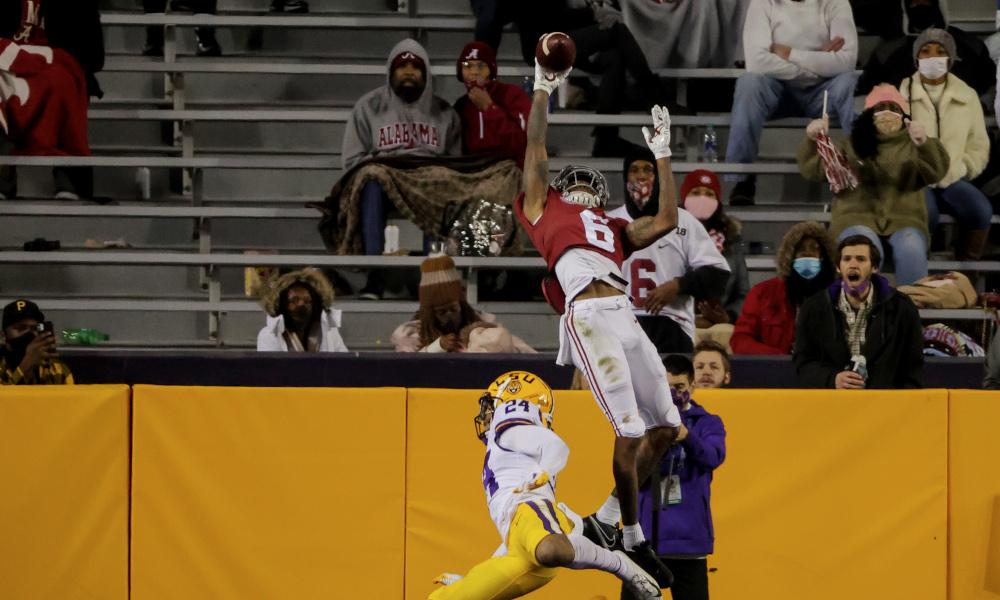 DeVonta Smith with a touchdown catch over Derek Stingley of LSU