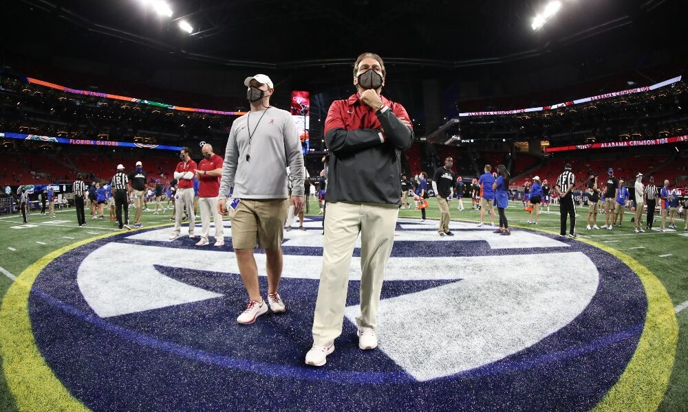 Nick Saban at center field of the SEC Championship