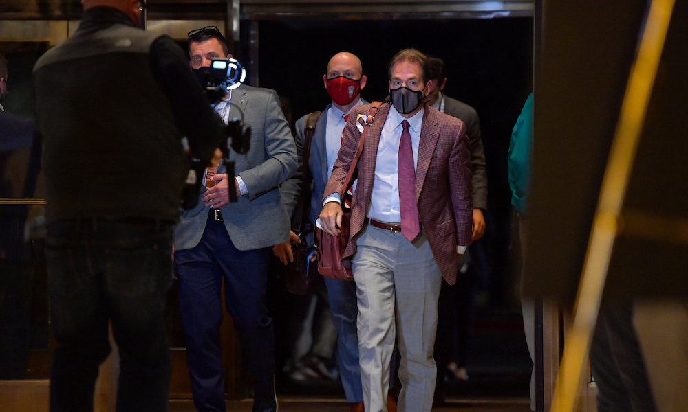 Nick Saban of Alabama arriving in Arlington, Texas for 2021 Rose Bowl