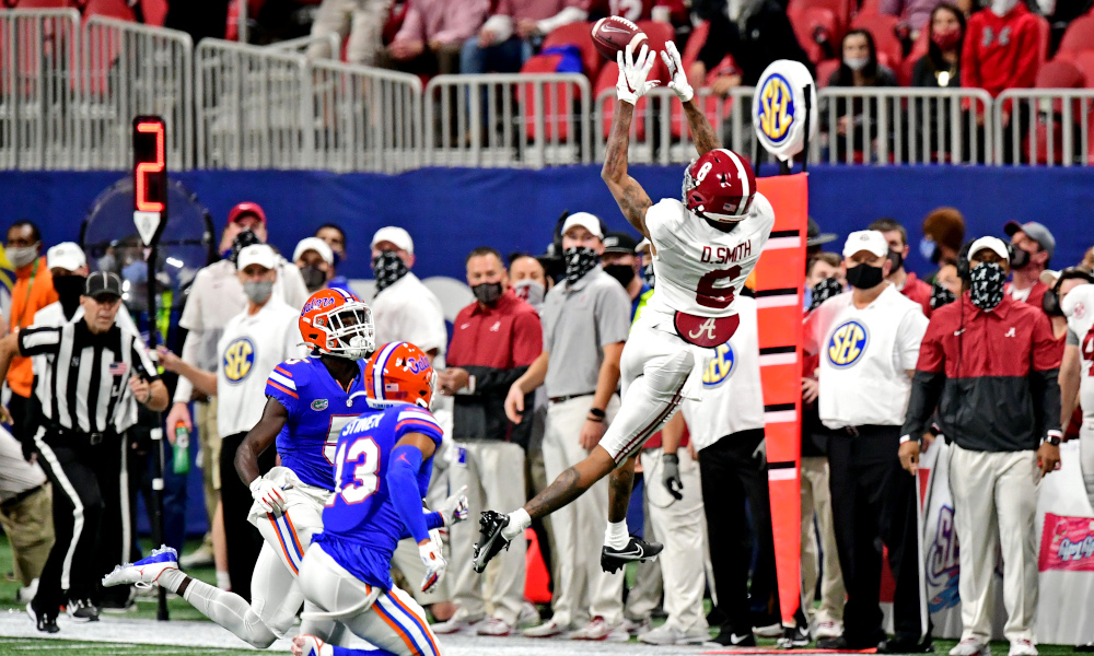 DeVonta Smith (No. 6) of Alabama with a nice catch versus Florida in SEC Championship Game