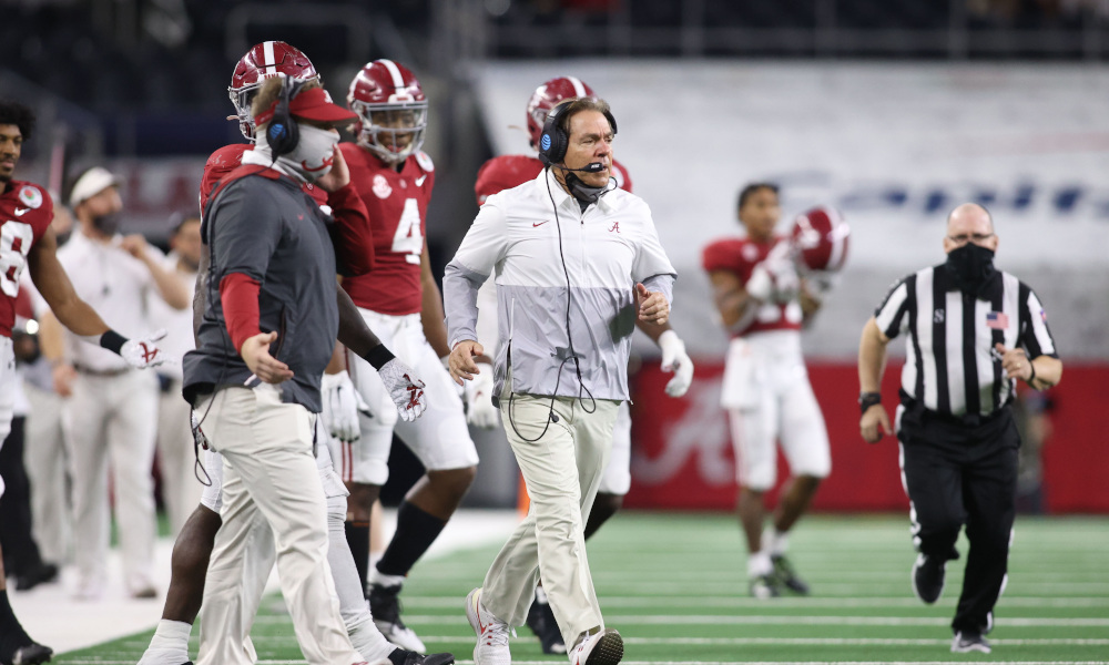 Nick Saban runs on the field for Alabama in fourth quarter of Rose Bowl versus Notre Dame