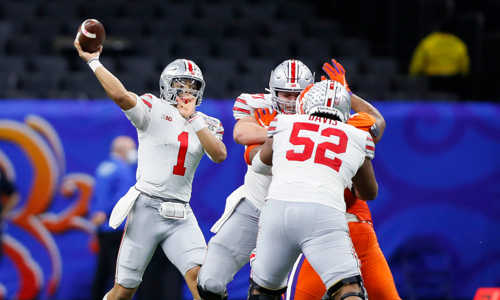 Justin Fields throws the ball against Clemson in Allstate Sugar Bowl