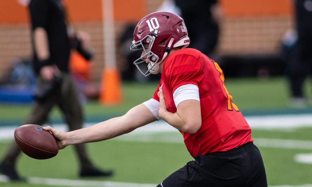 Mac Jones of Alabama executes handoff drills for American team at Senior Bowl