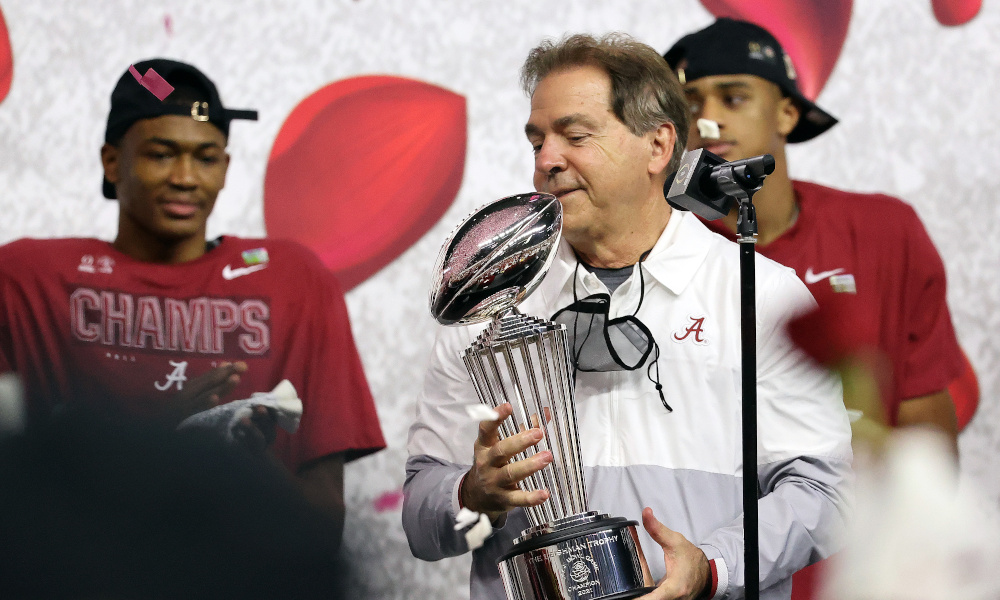 Nick Saban holds Rose Bowl trophy after Alabama defeated Notre Dame
