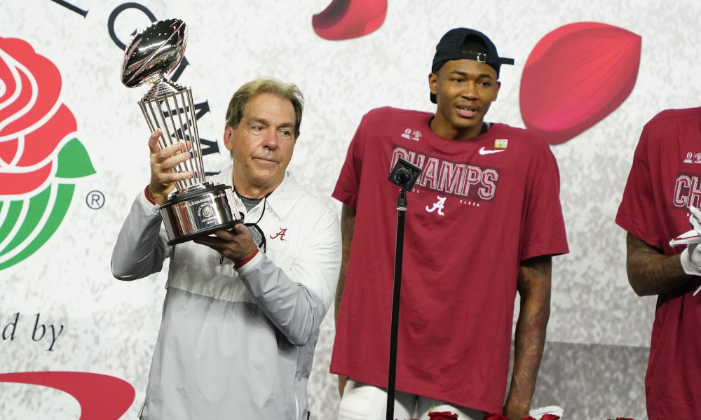 Nick Saban holds Rose Bowl Trophy after Alabama defeated Notre Dame