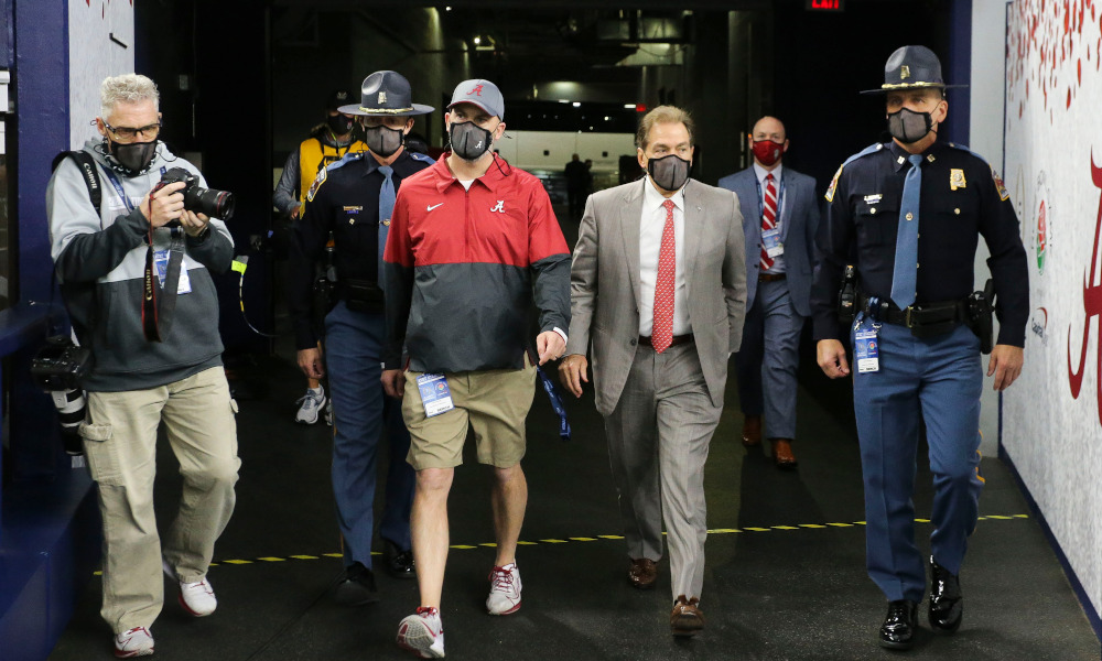 Nick Saban of Alabama arrives on the field at AT&T Stadium for Rose Bowl