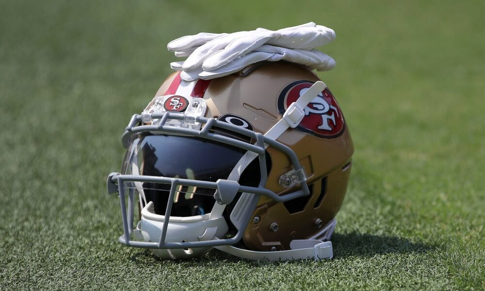 49ers helmet laying on the turf