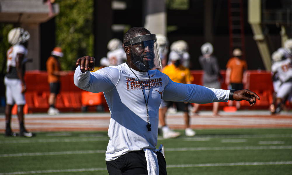 Jay Valai coaching the Texas Longhorns at practice in 2020