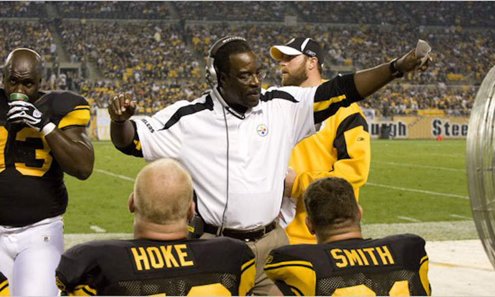 John Mitchell coaching Pittsburgh Steelers defensive line on sideline