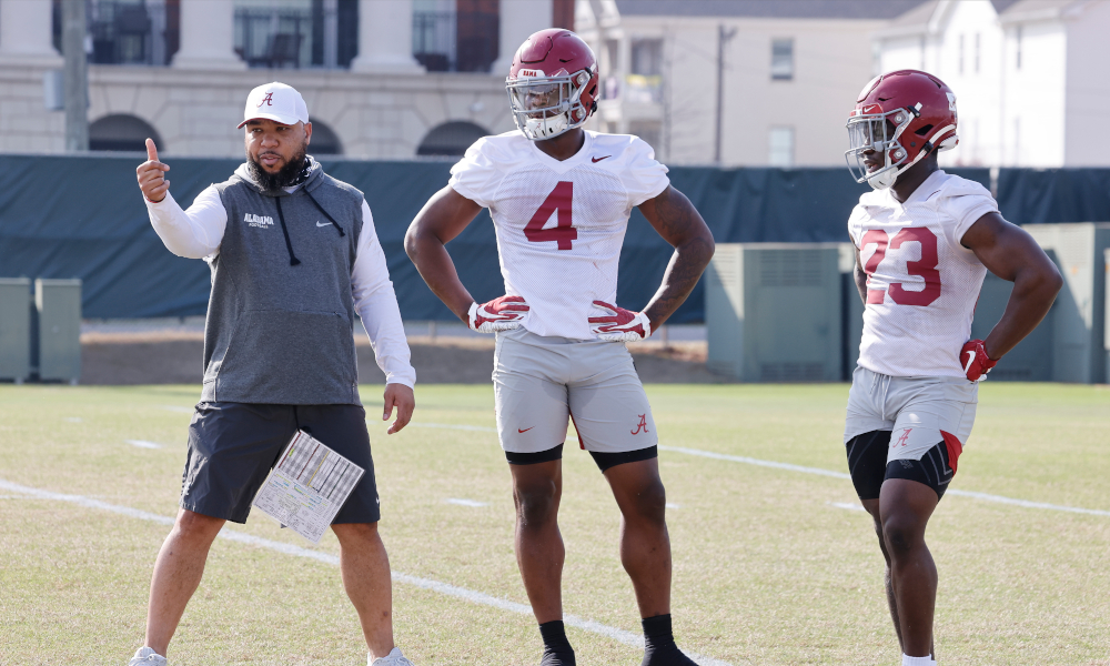 Brian Robinson Jr. and Alabama RB Robert Gillespie at spring practice