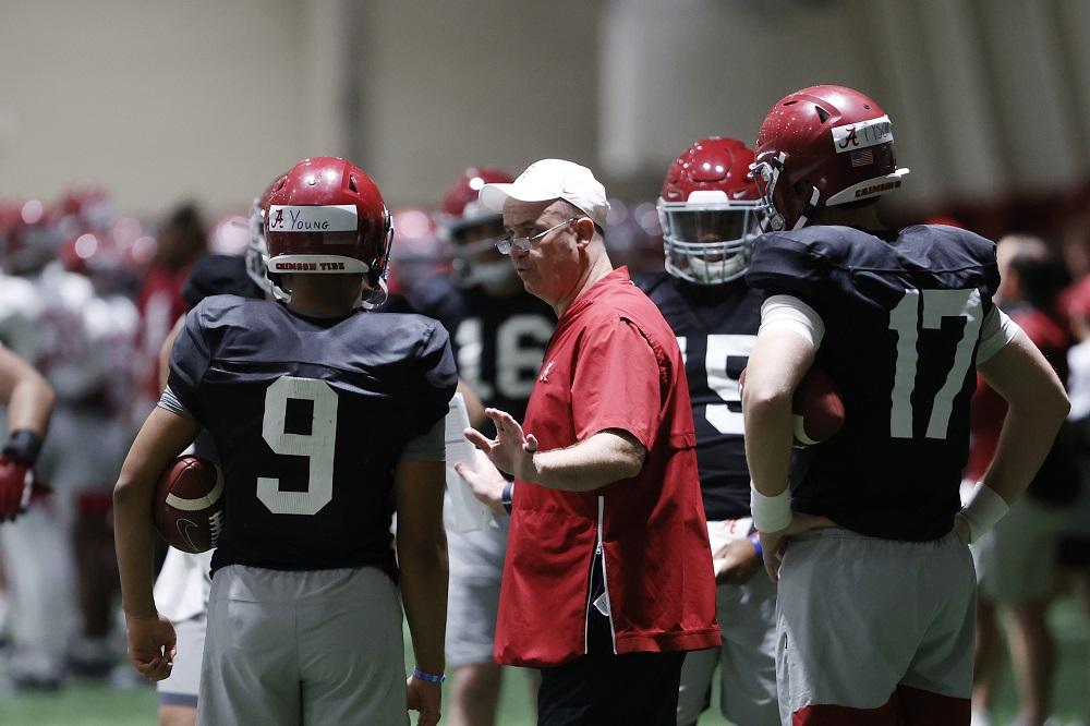 Bill O'Brien coaching quarterbacks during spring practice for Alabama