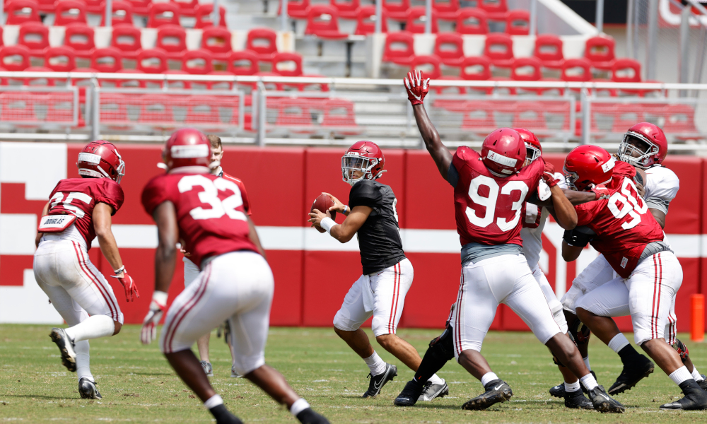 Bryce Young attempts a pass at Alabama's second scrimmage