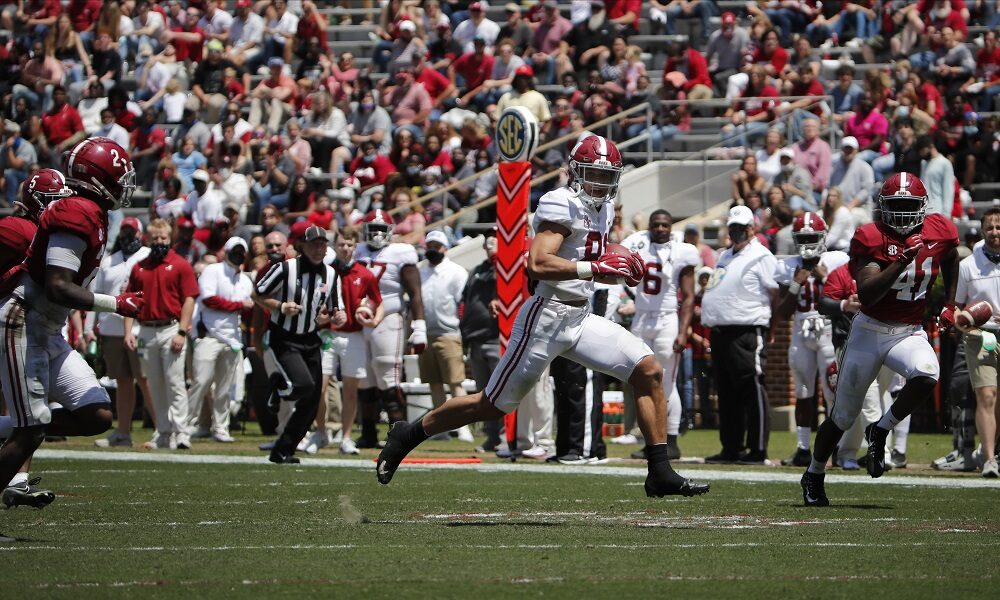Cameron Latu (No. 81) with a 59-yard TD for Alabama on A-Day