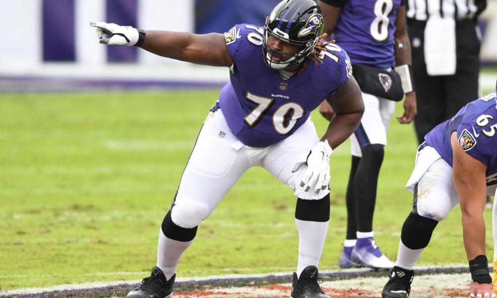 D.J. Fluker playing for the Baltimore Ravens in 2020