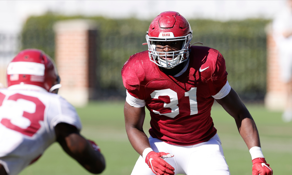 Will Anderson Jr. (No. 31) out his stance at Alabama's first scrimmage