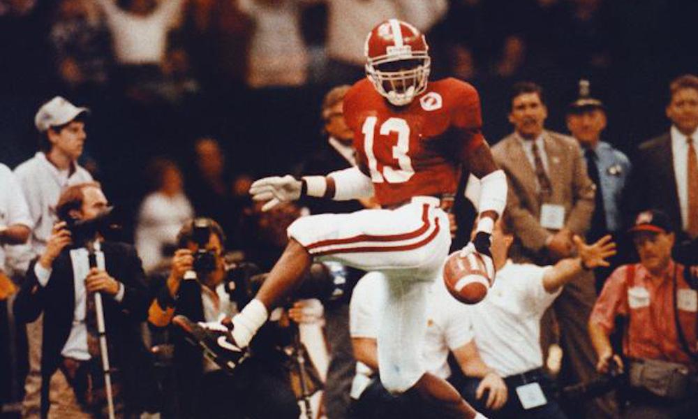 George Teague returns an interception for a TD versus Miami in 1993 Sugar Bowl