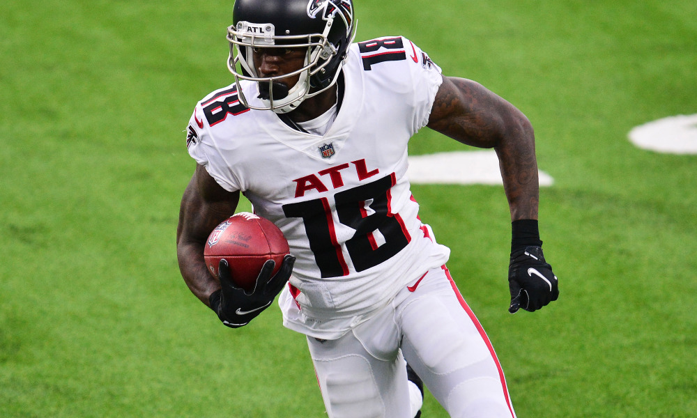 Calvin Ridley with a reception in 2020 for Falcons versus Chargers