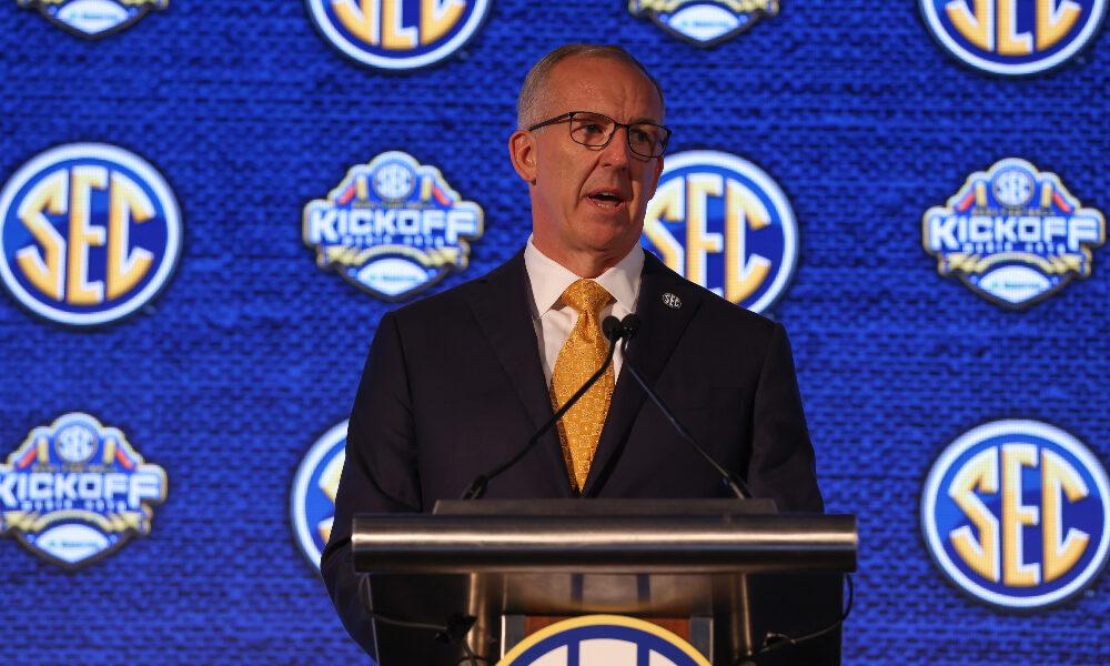 SEC Commissioner Greg Sankey speaks at 2021 media days