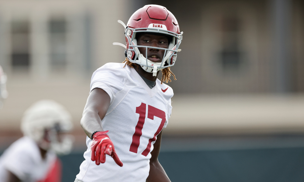 Agiye Hall at practice for Alabama about to run routes