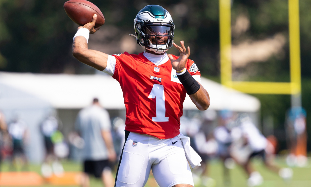 Jalen Hurts attempts to throw a pass at Eagles training camp