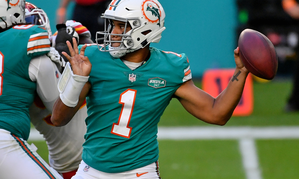 Tua Tagovailoa attempts a pass for Dolphins during 2020 season