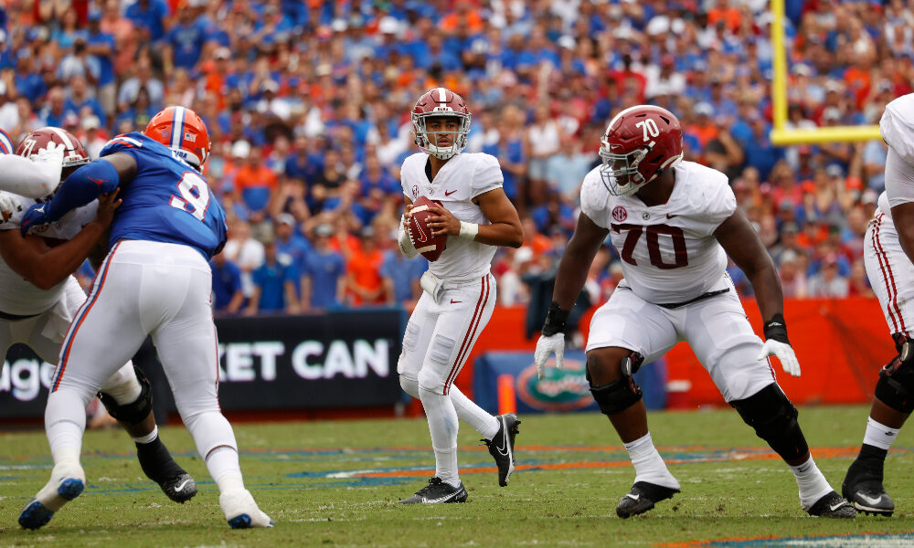Bryce Young drops back to pass against Florida
