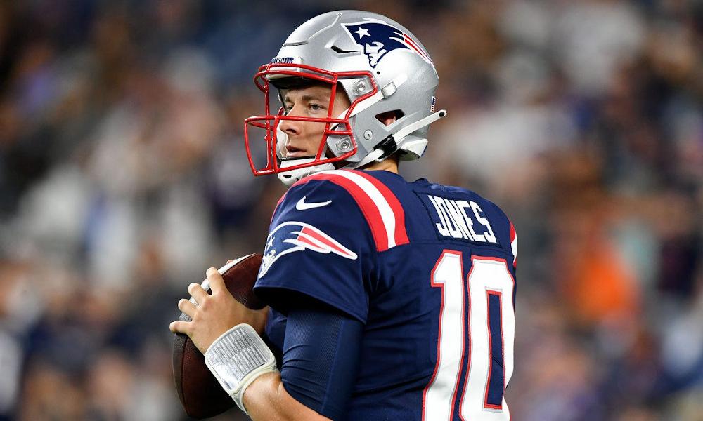 Mac Jones in warmups during NFL preseason game for Patriots