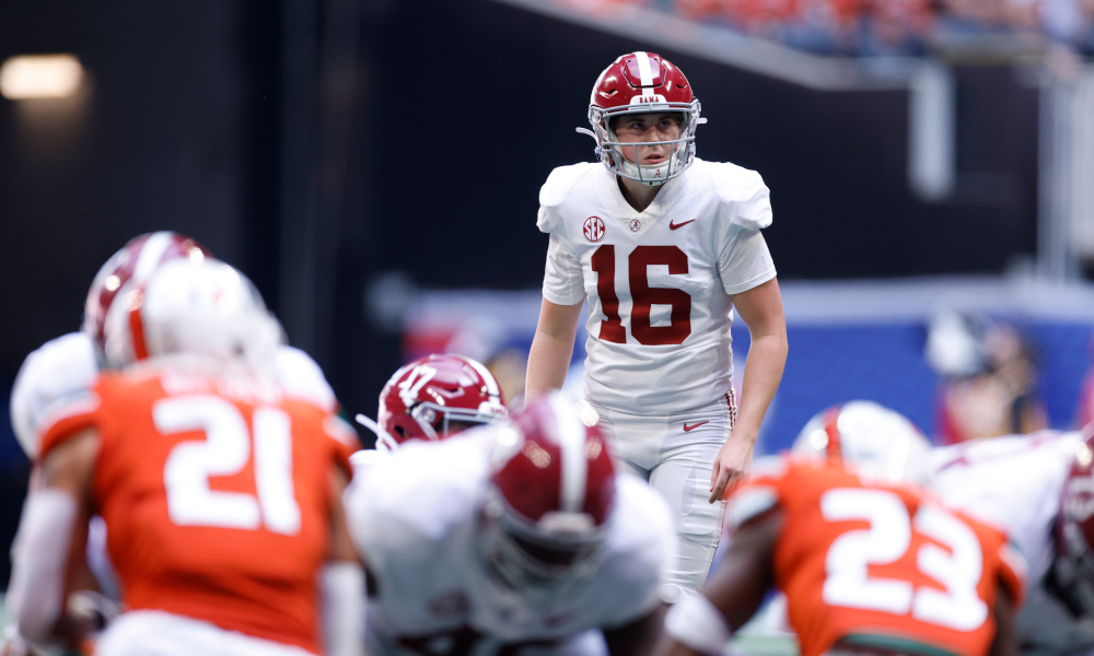 Will Reichard attempting a field for Alabama versus Miami